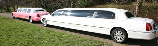 wide-image-white-limo-and-pink-limo-at-angle-rear